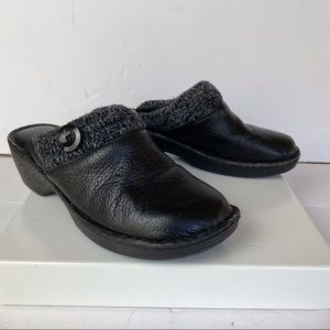Bjorndal Madge Black Leather With Knit Trim Clogs Size 10
